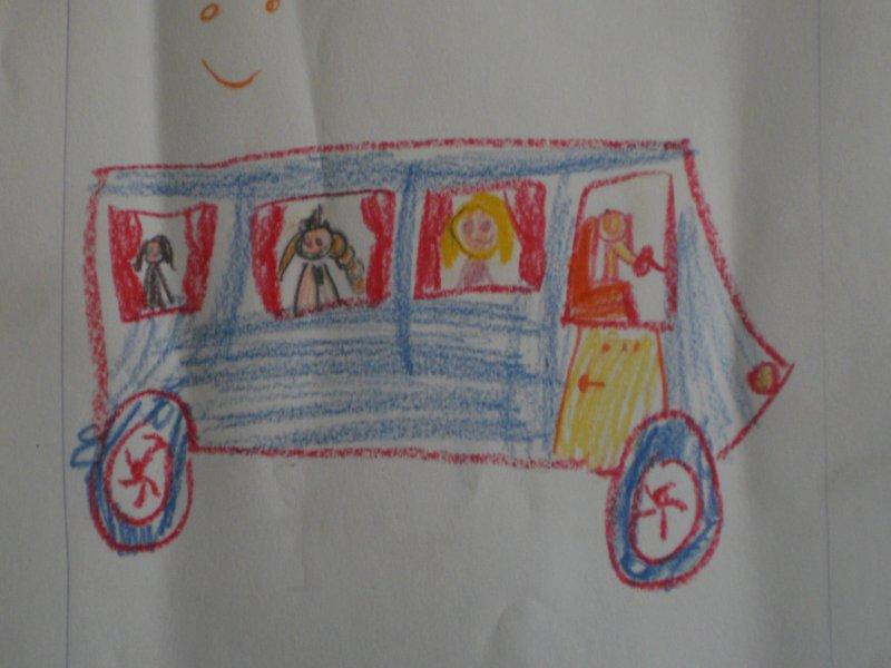 Autokar narysowany przez Marysię