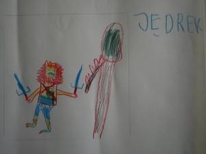 Św. Jerzy walczy - rysunek Jędrka