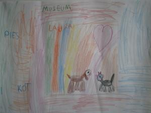 Pies i kot - rysunek Laury