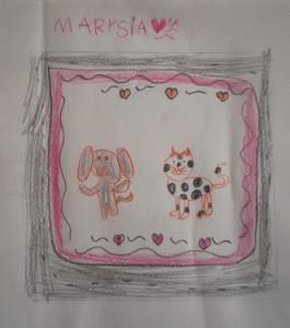 Pies i kot - rysunek Marysi