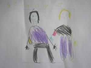 Dzieci w muzeum - rysunek Szymona