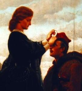 """Artur Grottger """"Pożegnanie powstańcaˮ. Olej na desce (fragment) z 1866 roku. Obraz znajduje się w zbiorach Muzeum Narodowego w Krakowie. Źródło: Wikipedia, domena publiczna."""